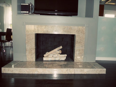 Fireplace Makeover: Removing a Brick Hearth and Retiling ...