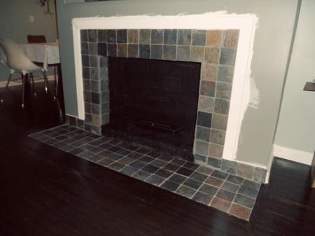 Fireplace Makeover Removing A Brick Hearth And Retiling Mymcmlife Com