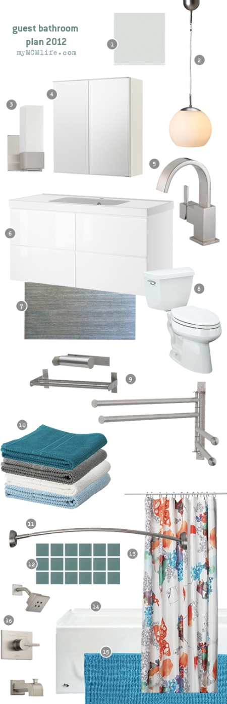 Guest Bathroom Inspiration Board and Design Plan from myMCMlife.com