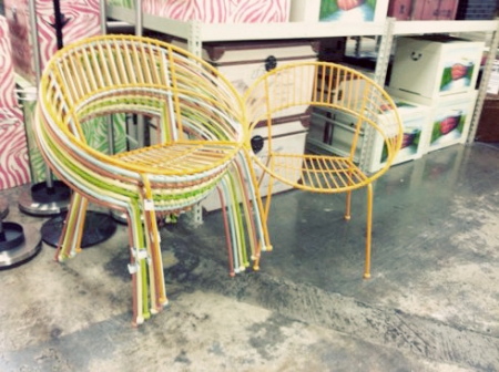 I was browsing around Old Time Pottery the other day with my mom, after  buying a twin flat sheet for a playhouse I'm making Ali. (More on that  later… - Modern Round Metal Patio Chairs MyMCMlife.com
