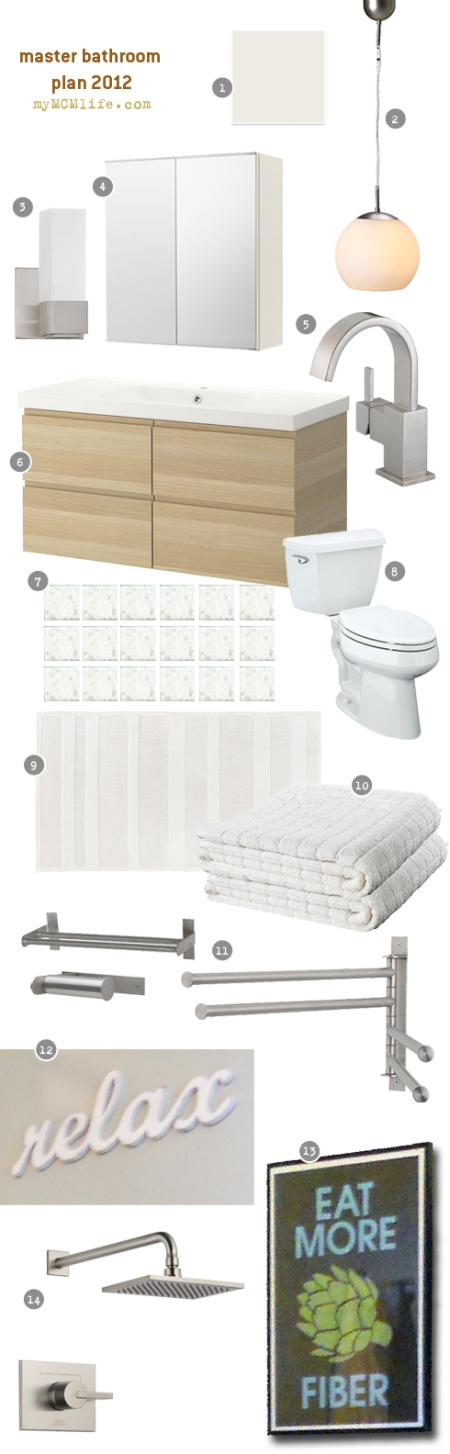 Master Bathroom Inspiration Board and Design Plan from myMCMlife.com